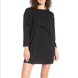 New Everly Black Shift Dress Ruffle Mesh Short S